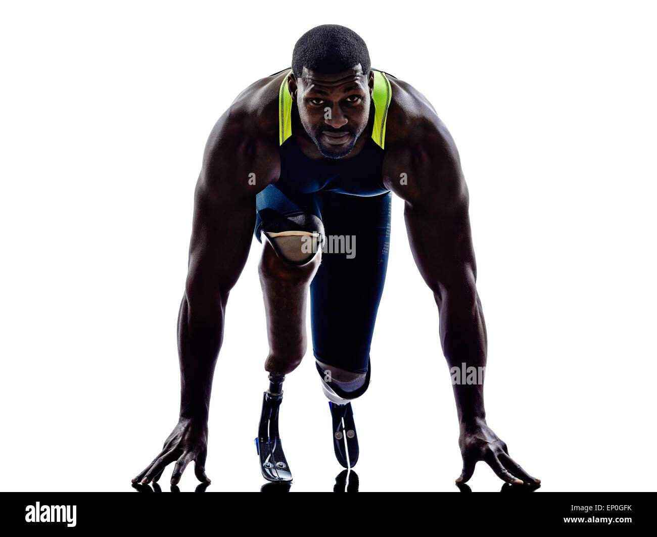 one muscular handicapped man runners sprinters with legs prosthesis in silhouette on white background - Stock Image