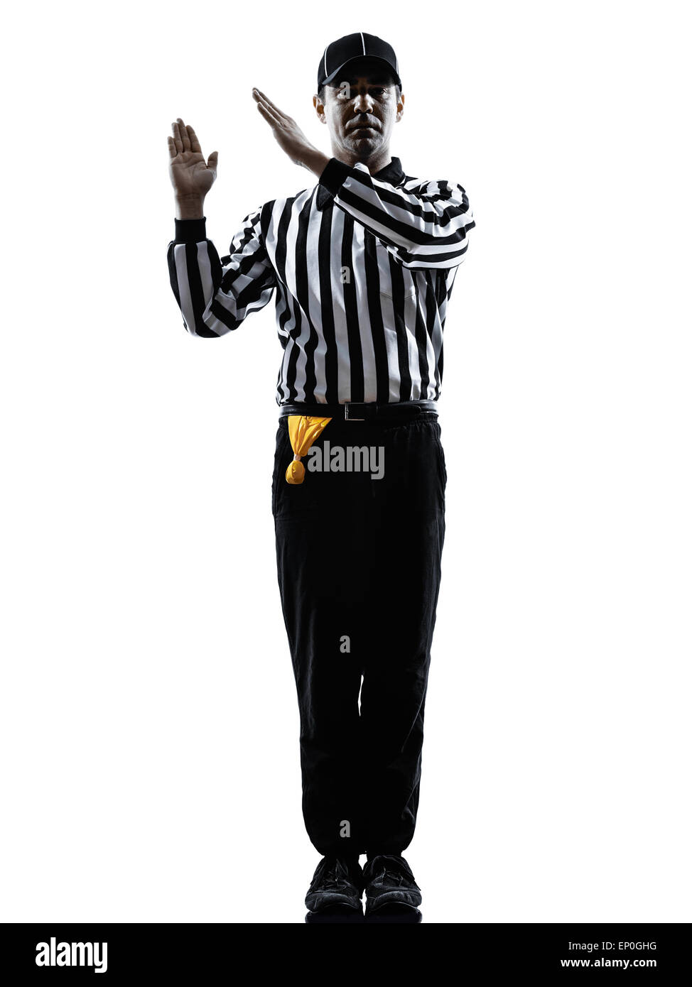 american football referee gestures intentional grounding in silhouette on white background - Stock Image