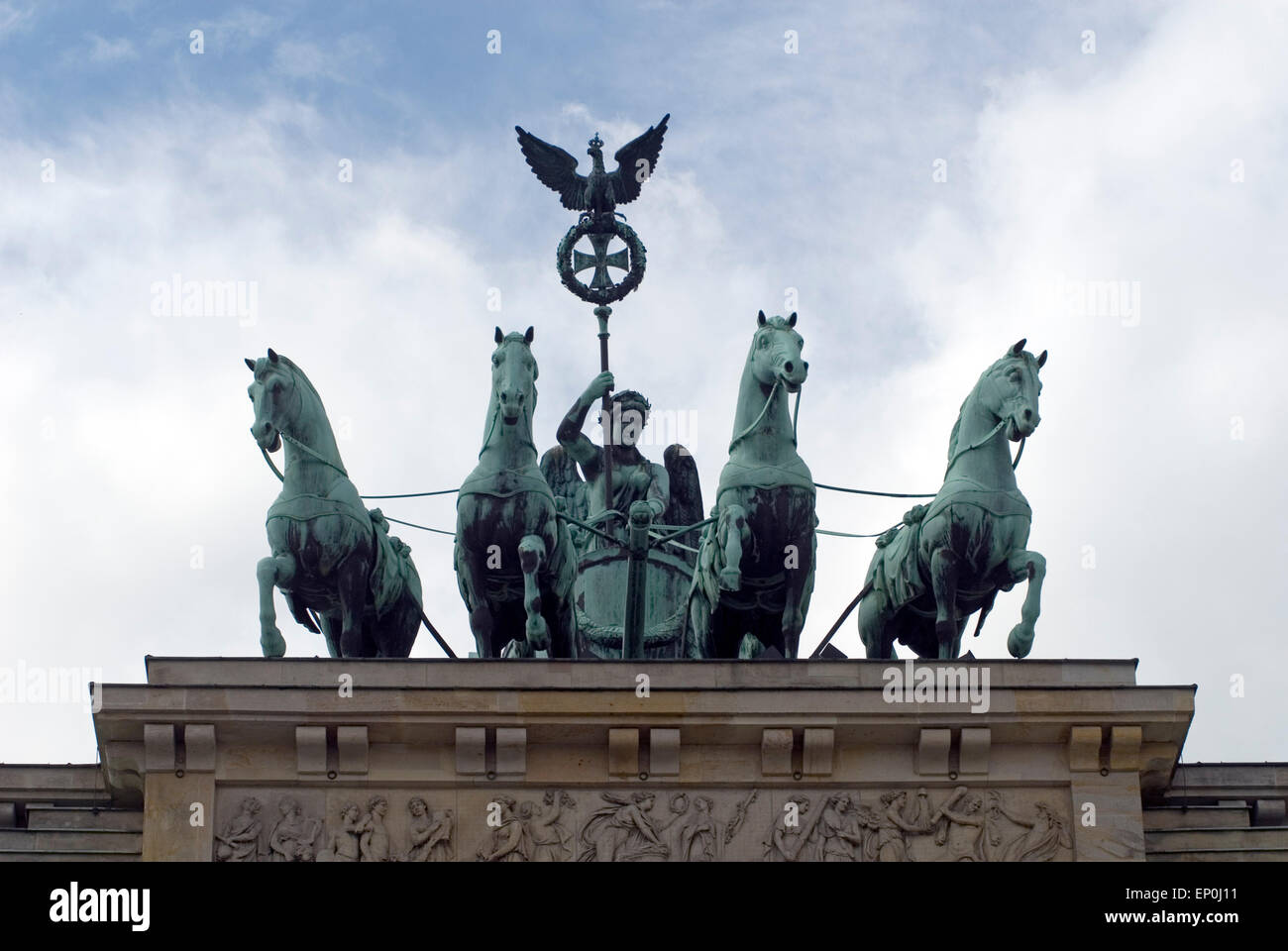 Quadriga on top of Brandenburger Tor Berlin Germany Europe - Stock Image