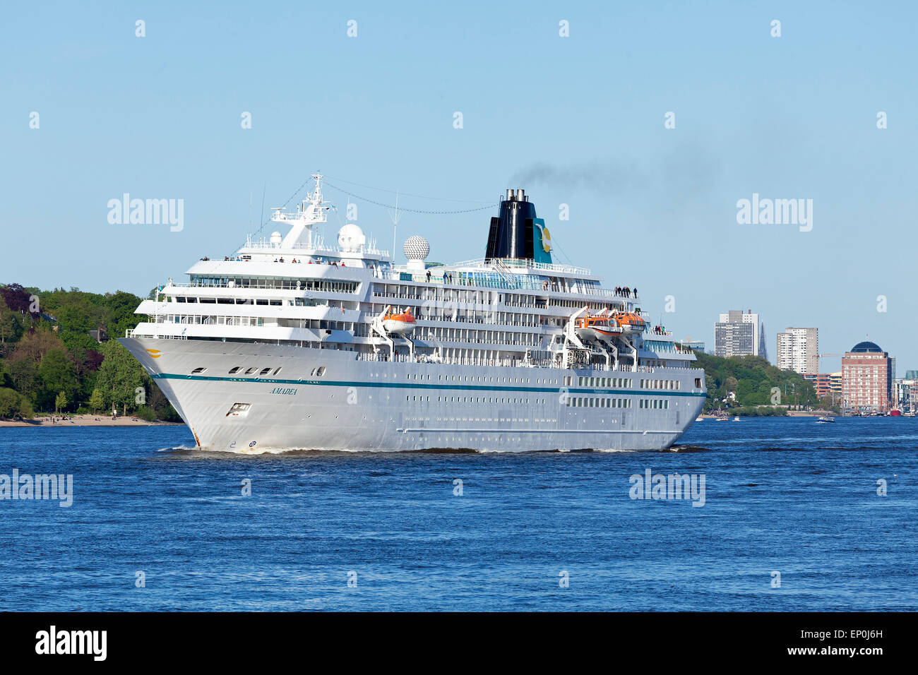 Cruise liner ´Amadea´ on River Elbe during 826. Harbour Birthday, Hamburg, Germany - Stock Image