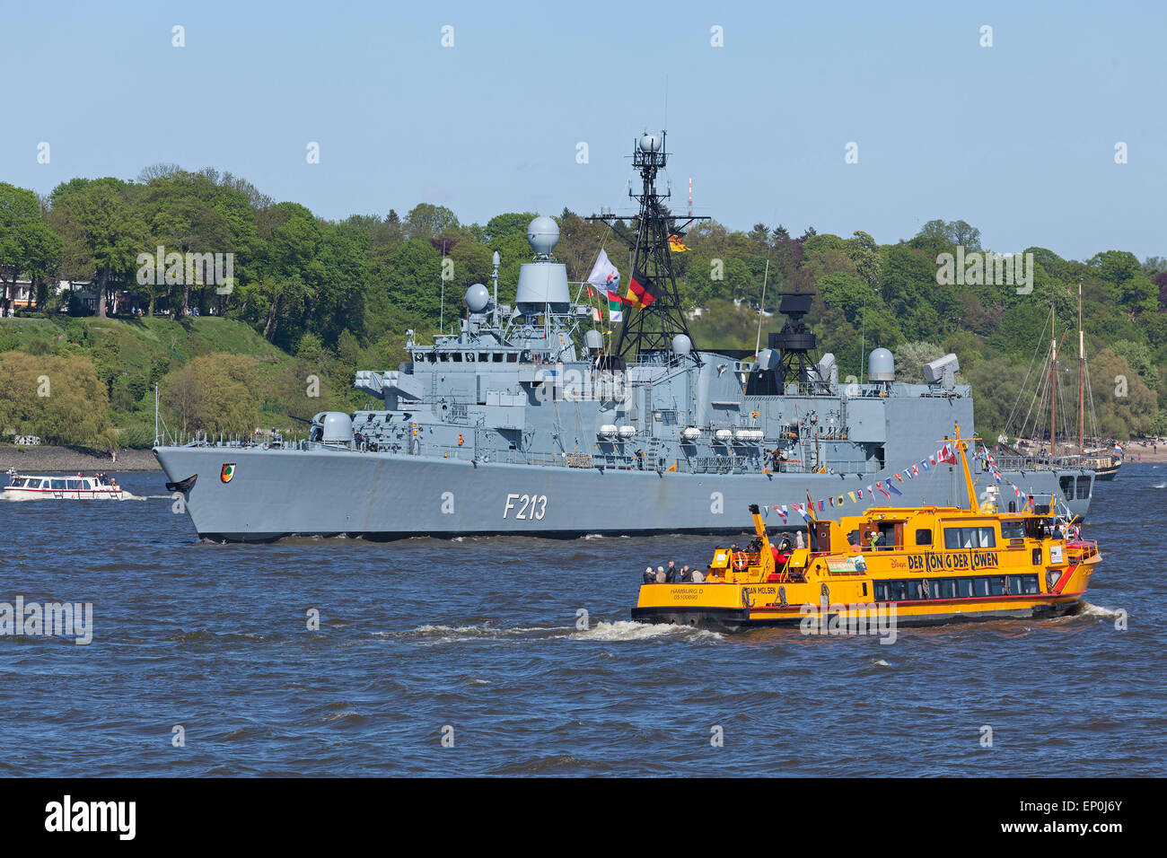 Frigate ´Augsburg´ on River Elbe during 826. Harbour Birthday, Hamburg, Germany - Stock Image