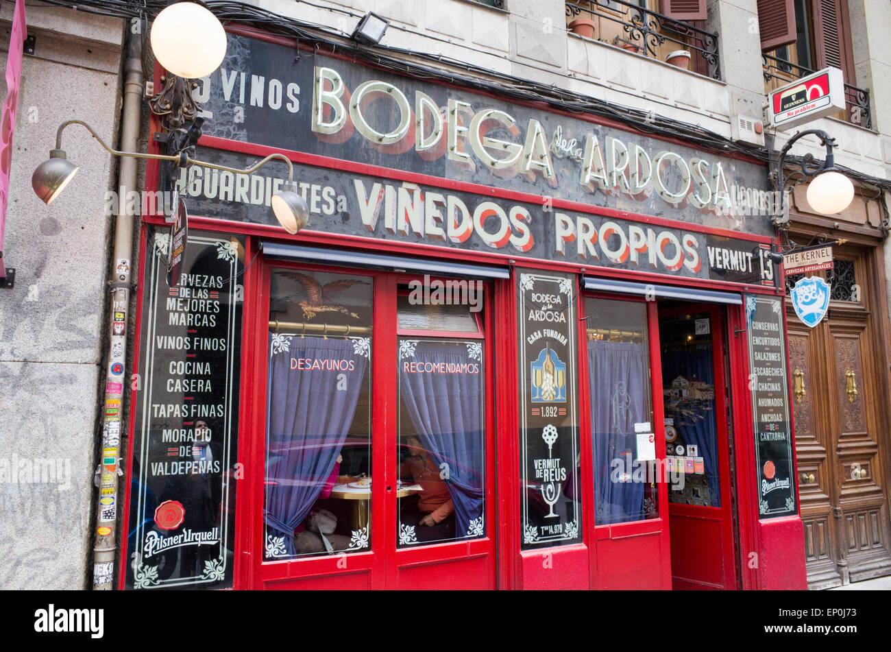 Bodega De La Ardosa In The Malasana District Madrid Spain Stock