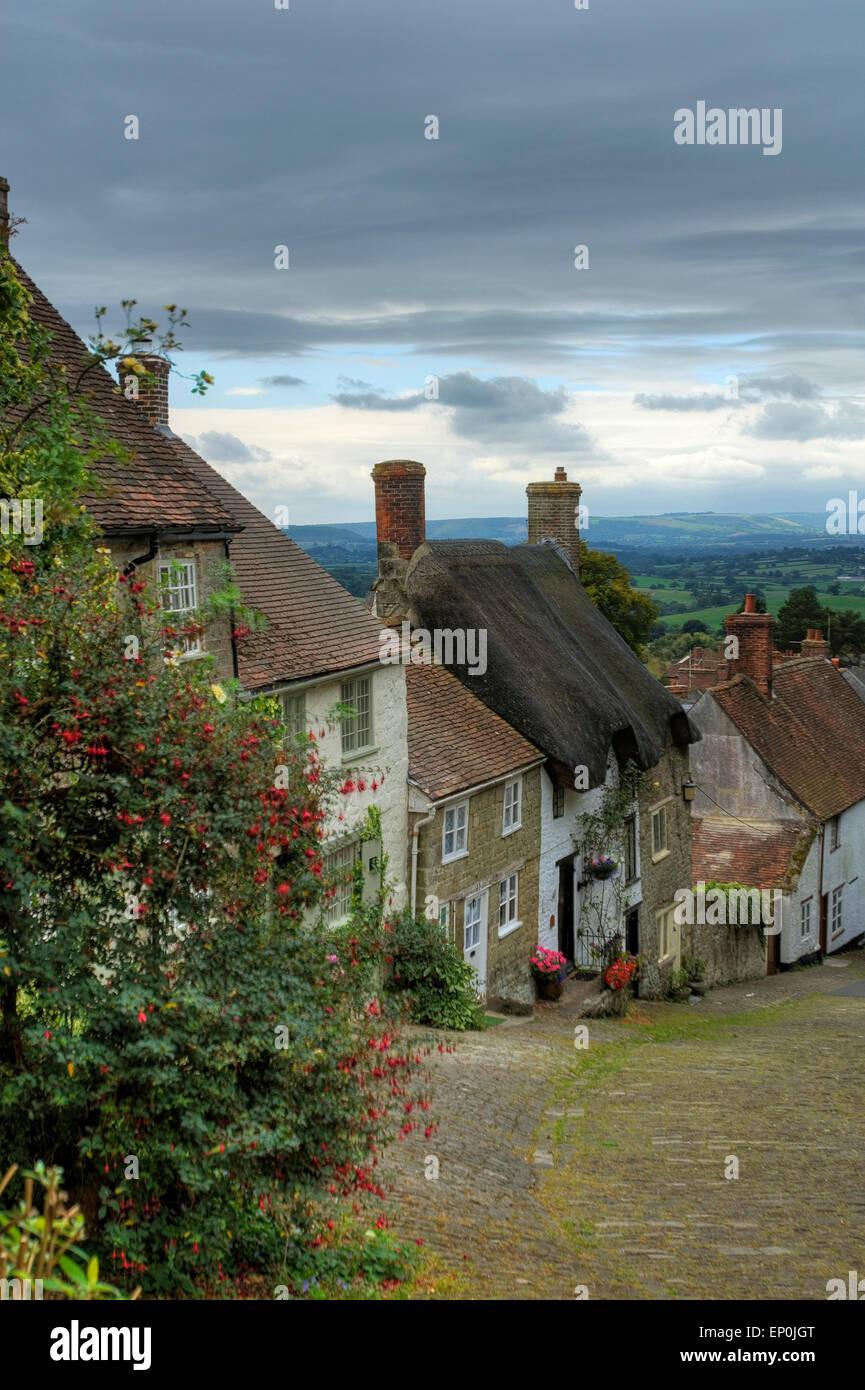Gold Hill, Shaftesbury, Dorset, England, Europe - Stock Image