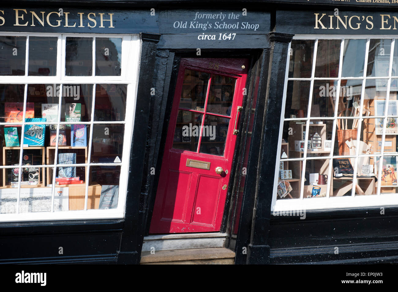 The crooked door of the Old King's school shop in Canterbury Kent England europe - Stock Image