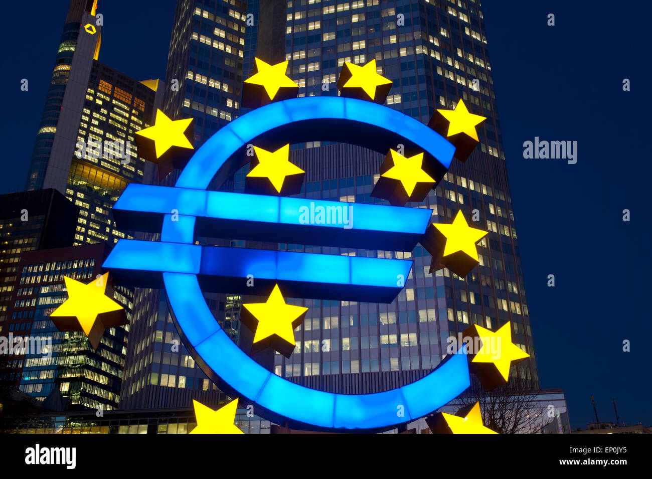 Euro Symbol in front of EZB Building in Frankfurt Hesse Germany Europe - Stock Image