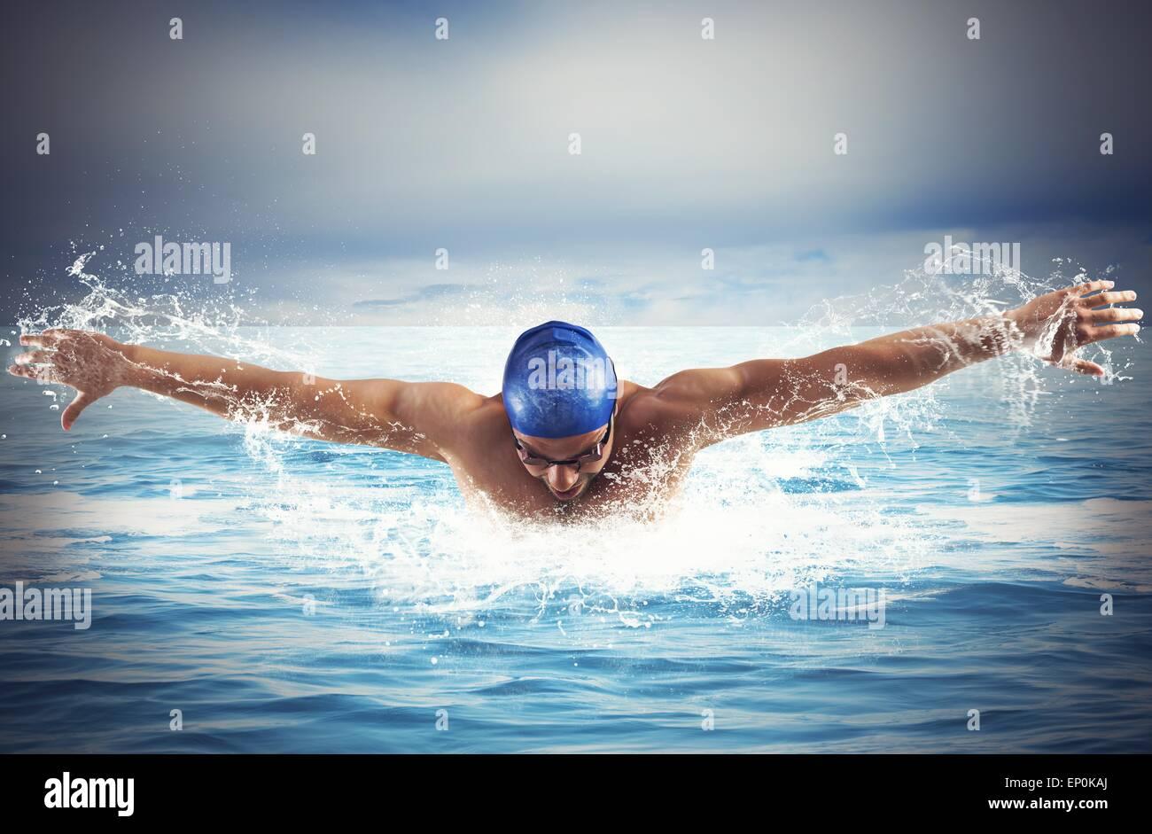 Swimming in the sea - Stock Image