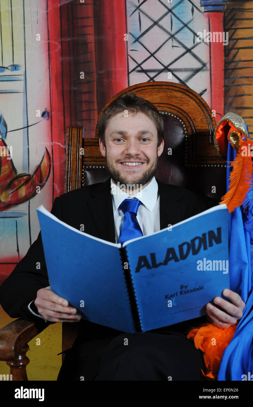 Ex Downton Abbey actor Thomas Howes starring in Aladdin at Dearne Playhouse Theatre, Barnsley, UK. Picture: Scott - Stock Image