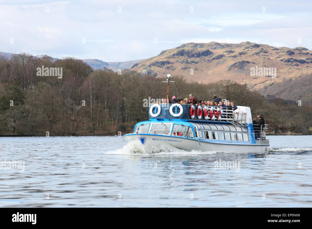 Ferry in Windermere lake in Lake District, UK Stock Photo