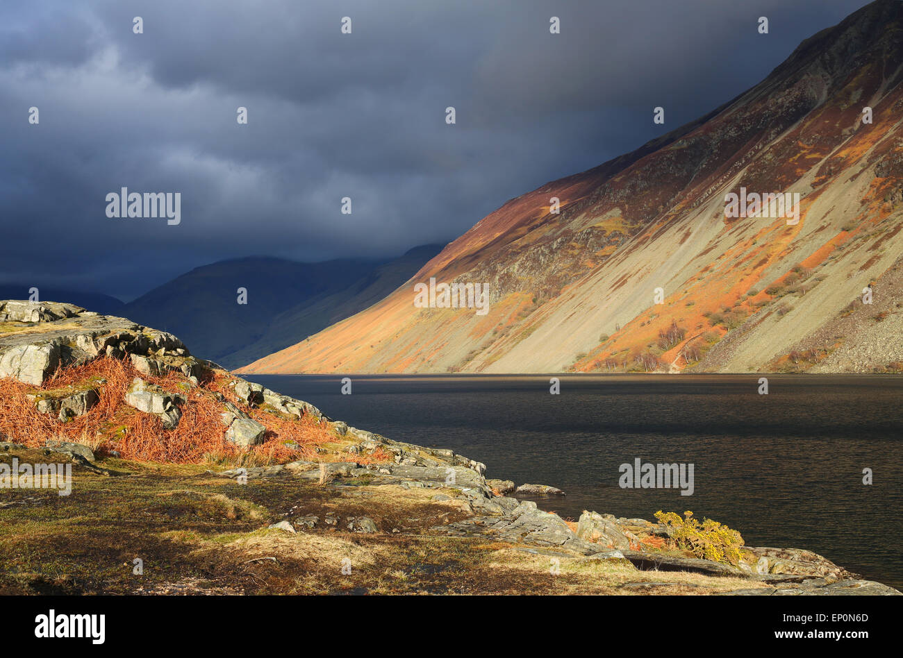 Mountain view in Wast water in Lake District, UK Stock Photo
