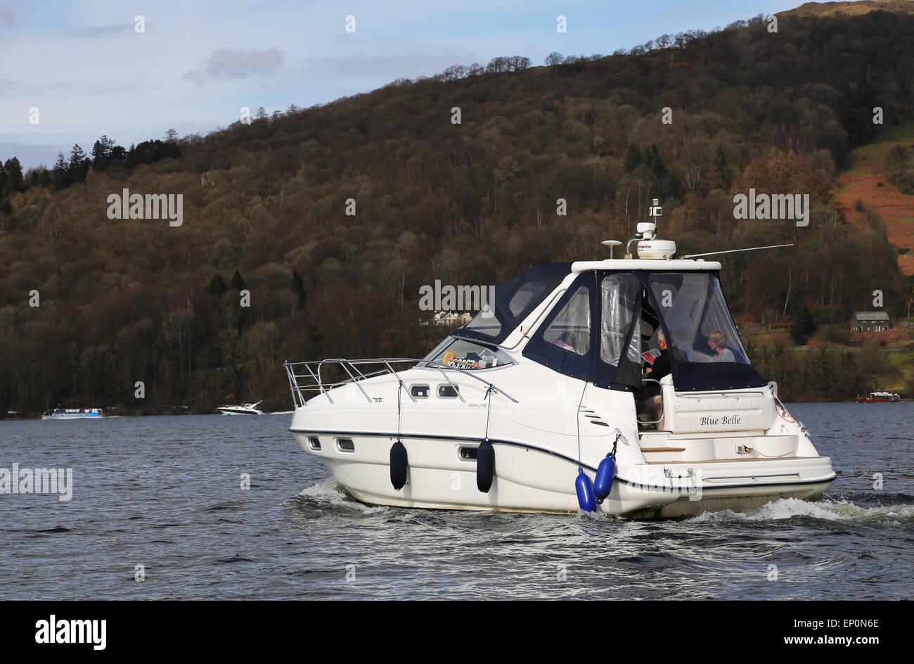 Boat in Windermere lake in Lake District, UK Stock Photo