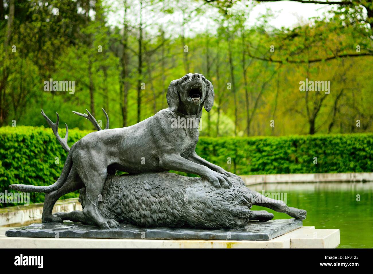 Hunting animal figures South Marble Fountain,Herrenchiemsee, Herreninsel Upper Bavaria Germany - Stock Image