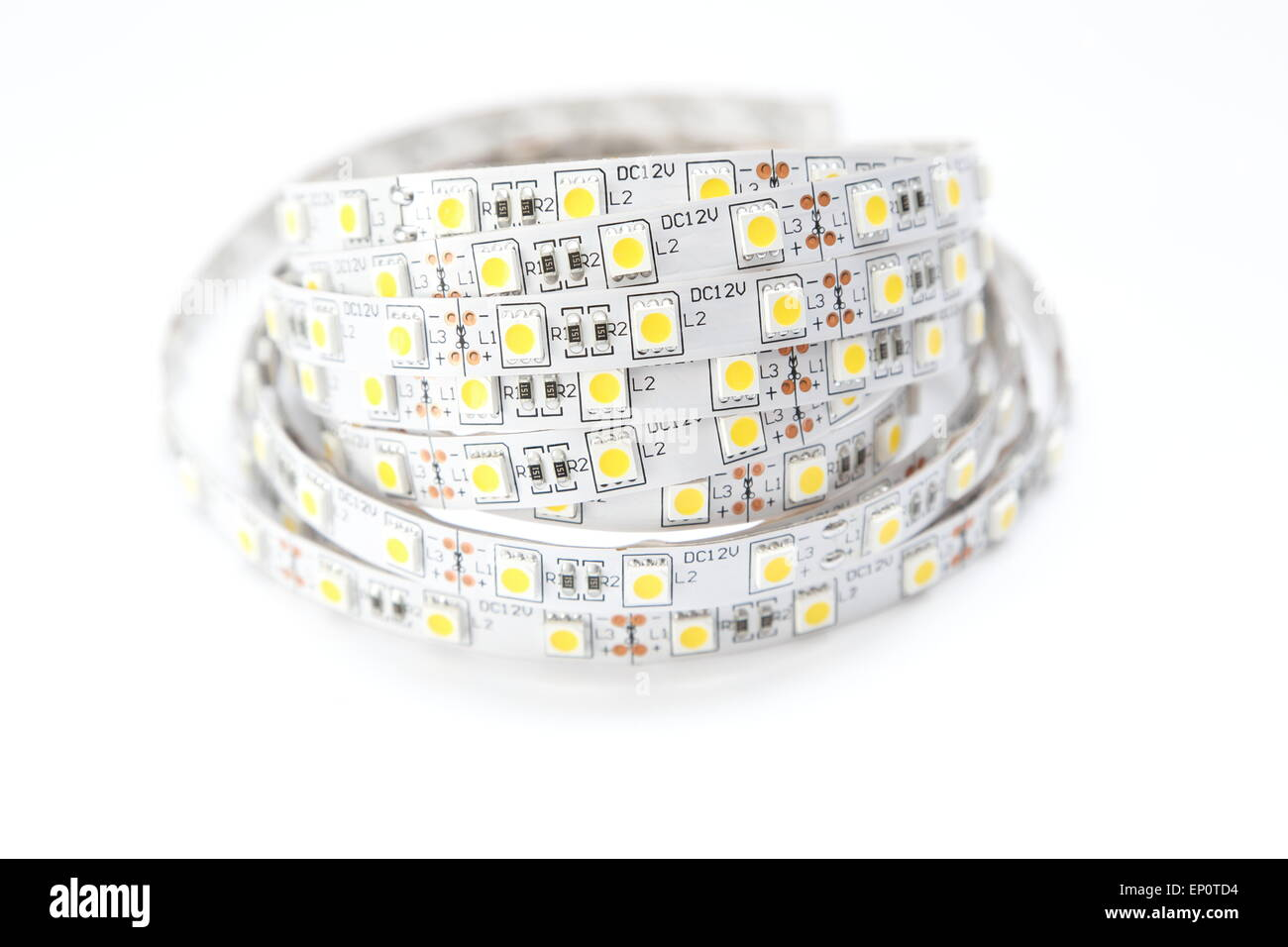 Long strip of LEDs. The LEDs allow for a great illumination with a low consumption of electricity. - Stock Image
