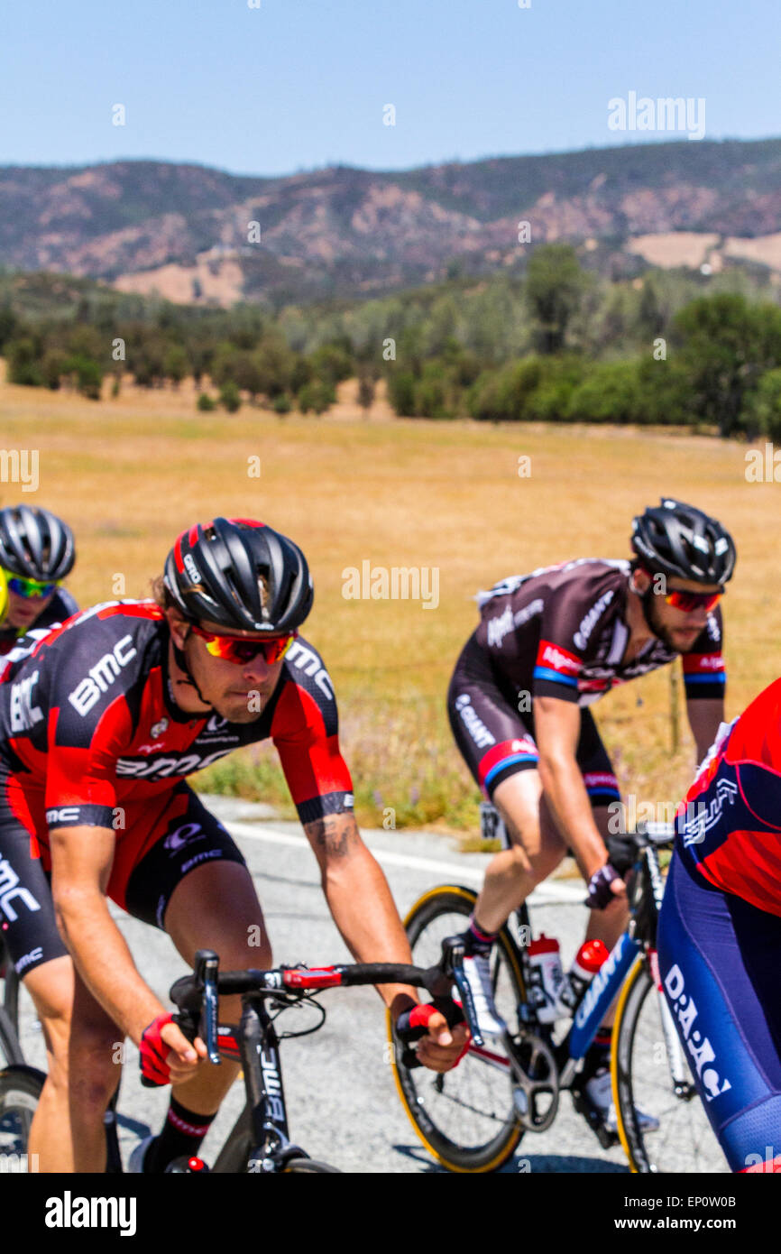 Daniel Oss and Roy Curvers in The Amgen Tour Of California 2015 Stage Three breakaway group - Stock Image