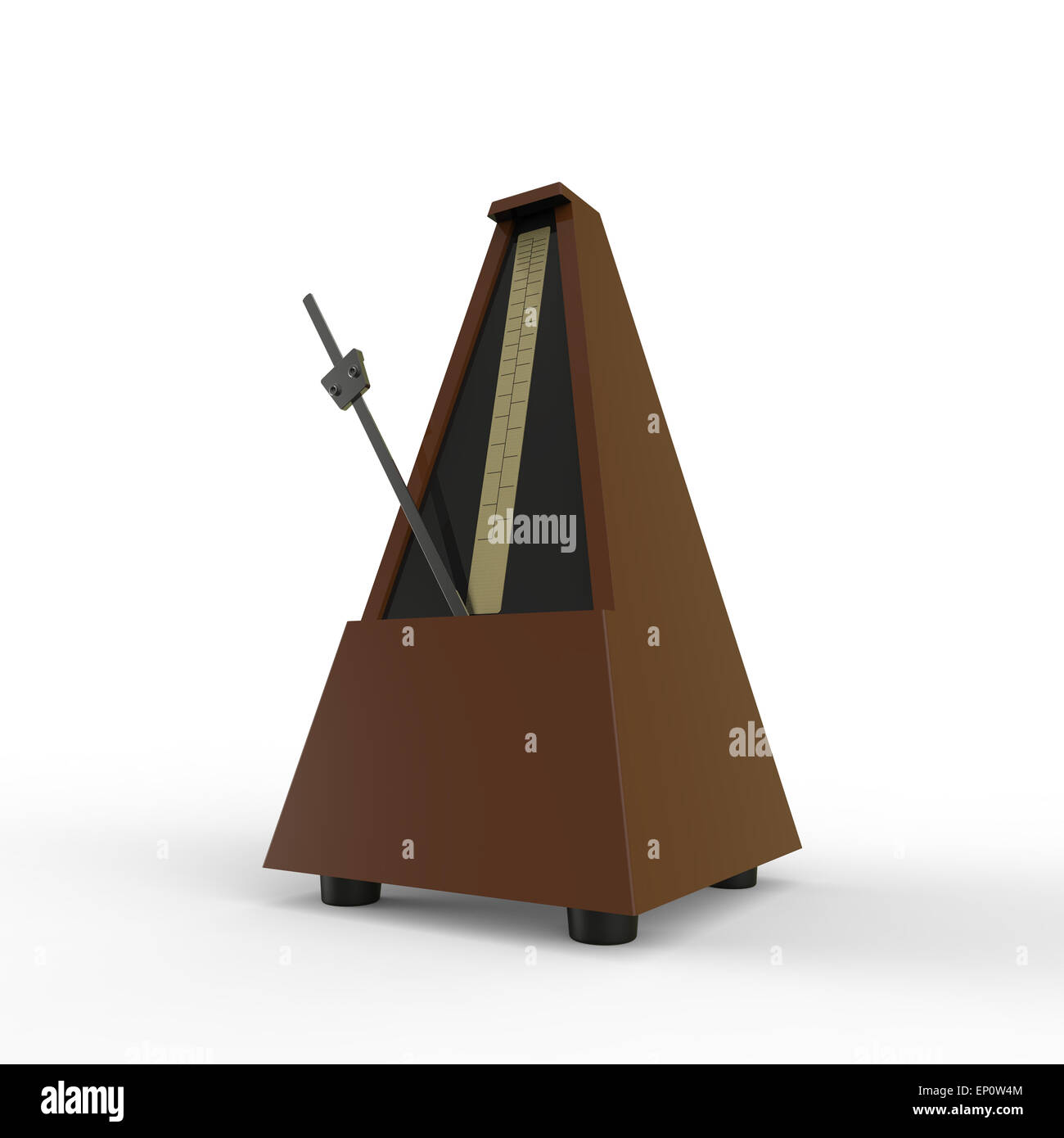 brown pyramid shaped wooden metronome on a white background used for music practice to keep the rhythm - Stock Image