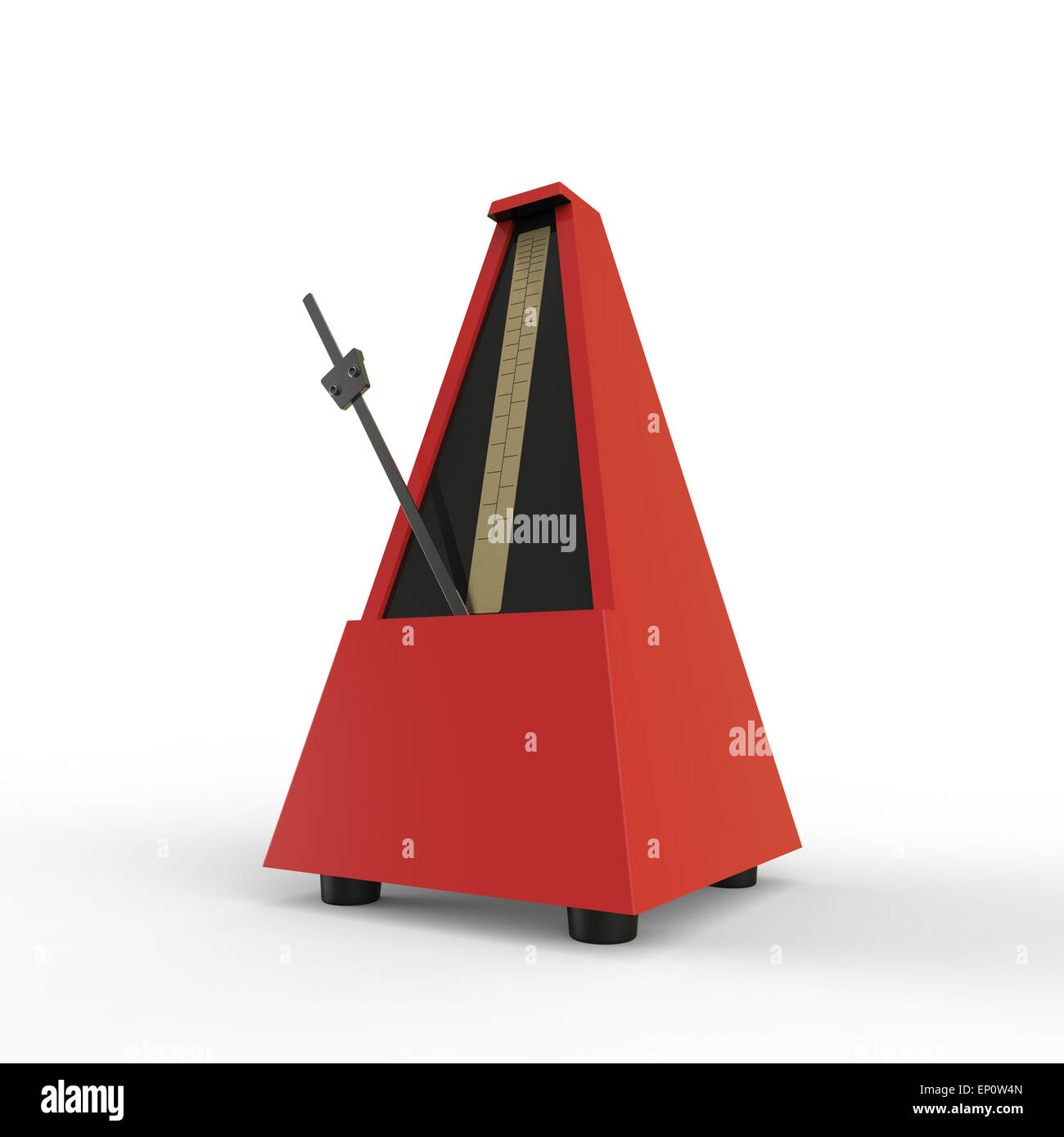 red pyramid shaped wooden metronome on a white background used for music practice to keep the rhythm - Stock Image
