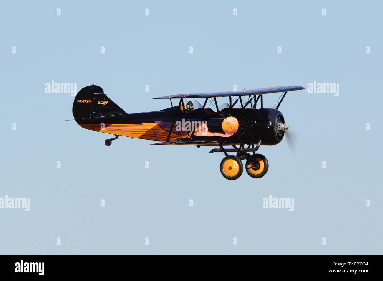 Vintage Bi-plane aircraft flying 2015 Planes of Fame Air Show - Stock Image