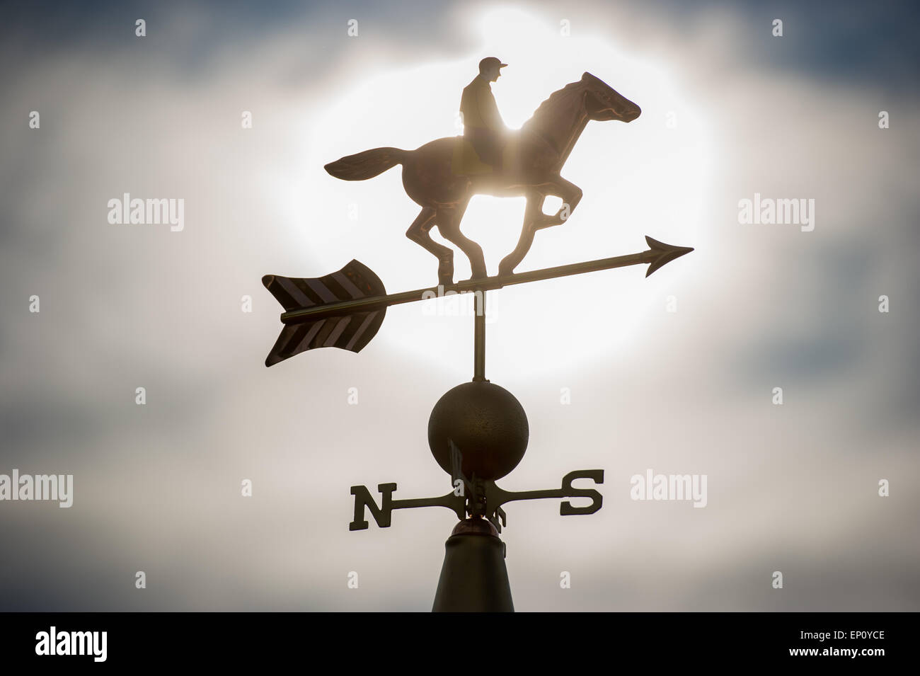 Weather vane of a jockey on a horse in Baltimore, Maryland, USA - Stock Image