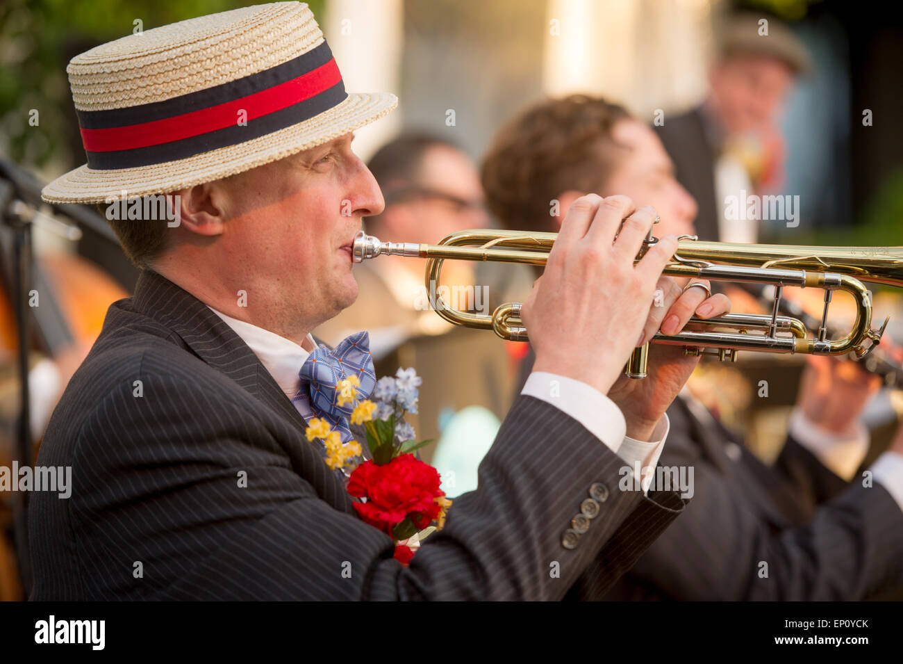 Man playing trumpet in a ragtime band in Baltimore, Maryland, USA - Stock Image