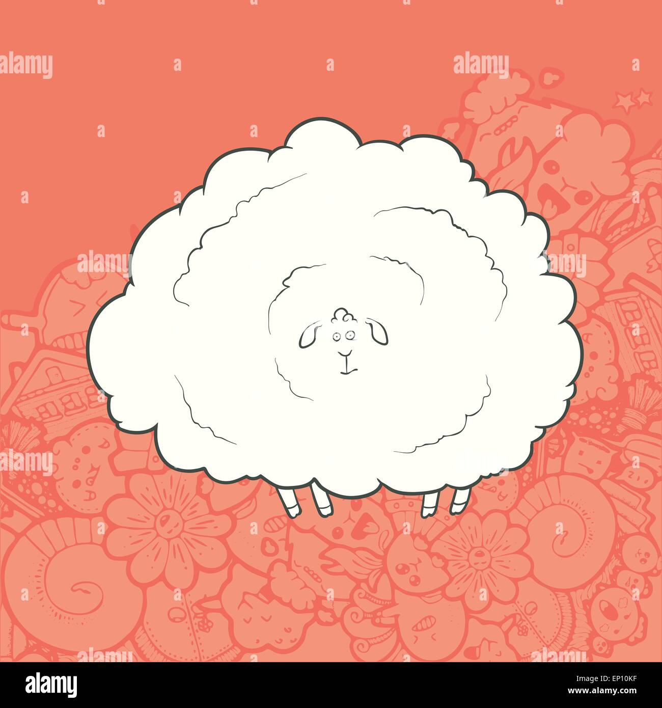 Vector Illustration Cute Hand Drawn Sheep. Greeting card New Year. Stock Vector
