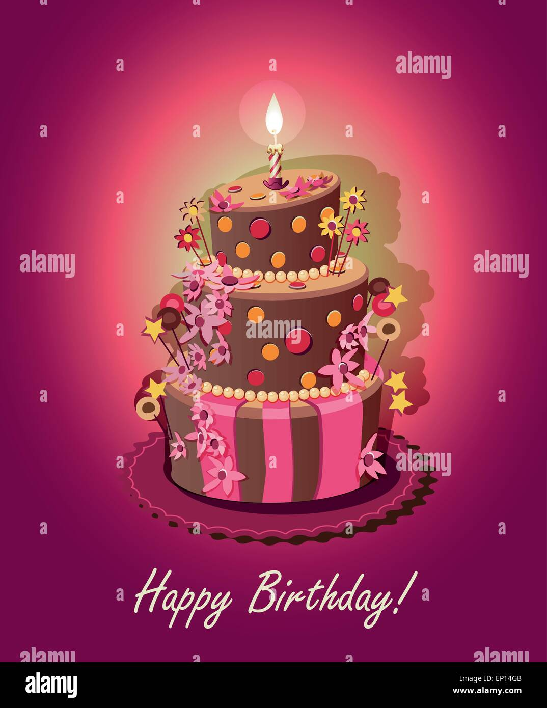 Birthday Cake Poster Vector Candle Stock Vector Art