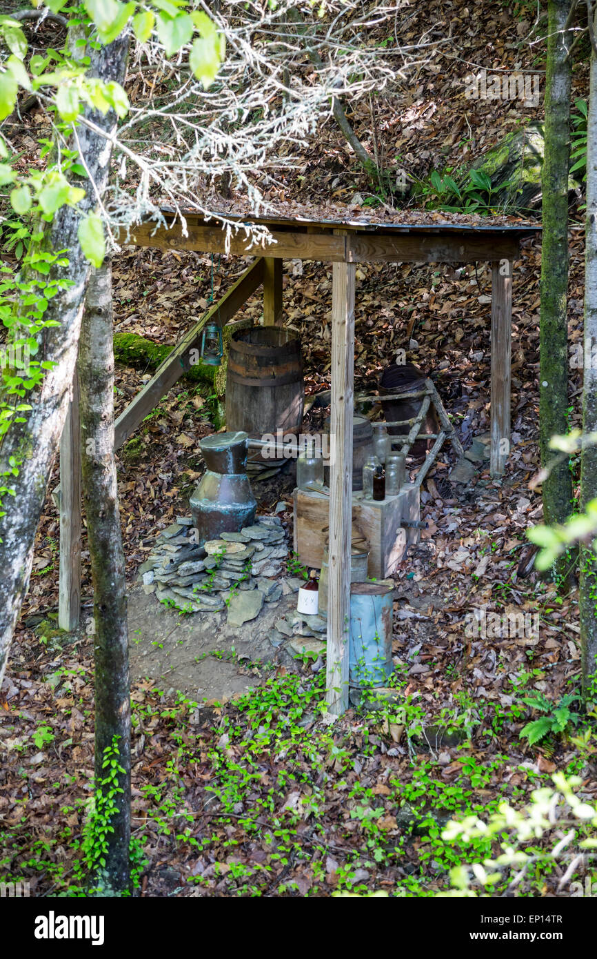 Moonshine still, Smith Creek, Anna Ruby Falls, Chattahoochee-Oconee National Forest, Georgia, USA - Stock Image