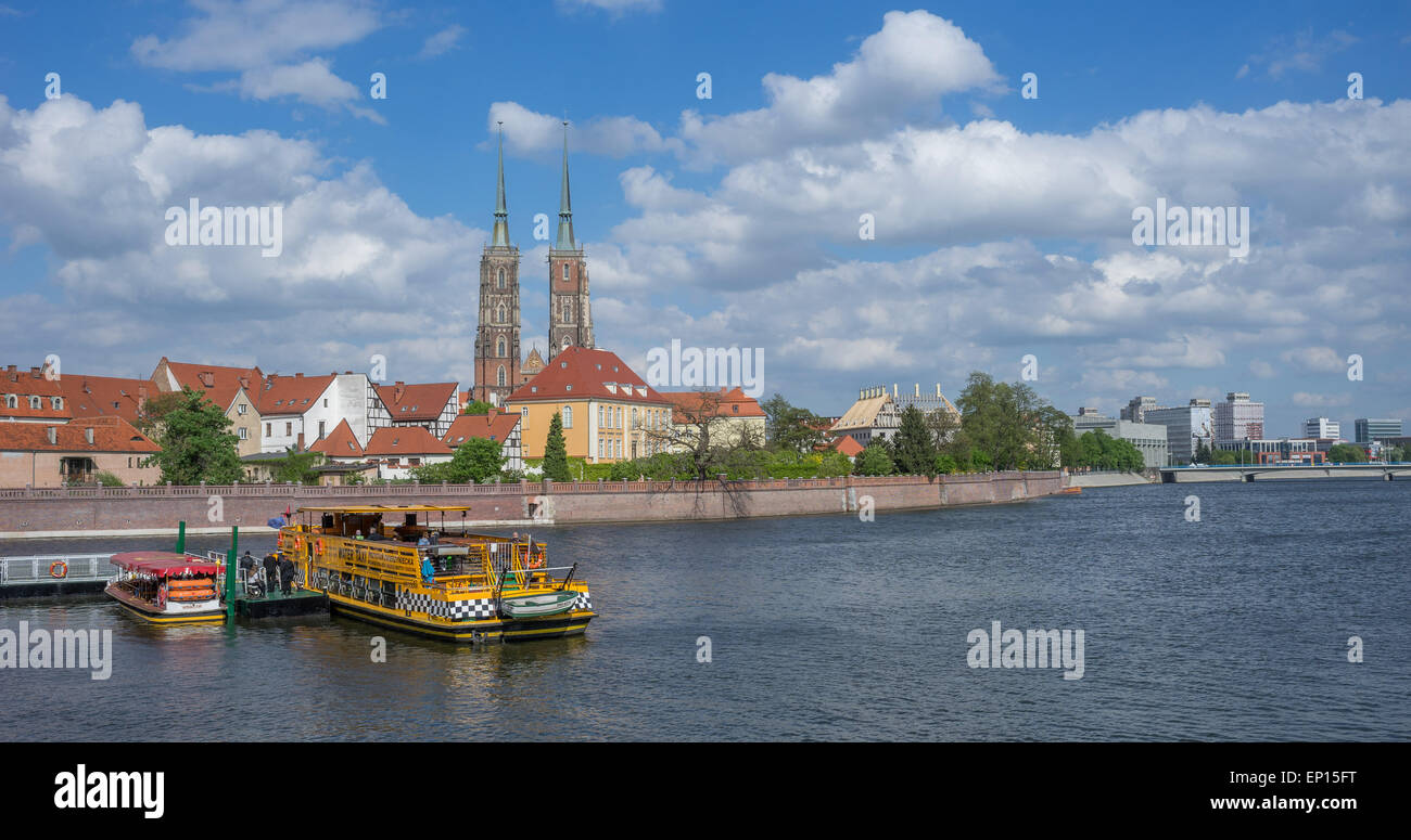Wroclaw Odra River Ostrow Tumski cruising boat sunny spring day - Stock Image