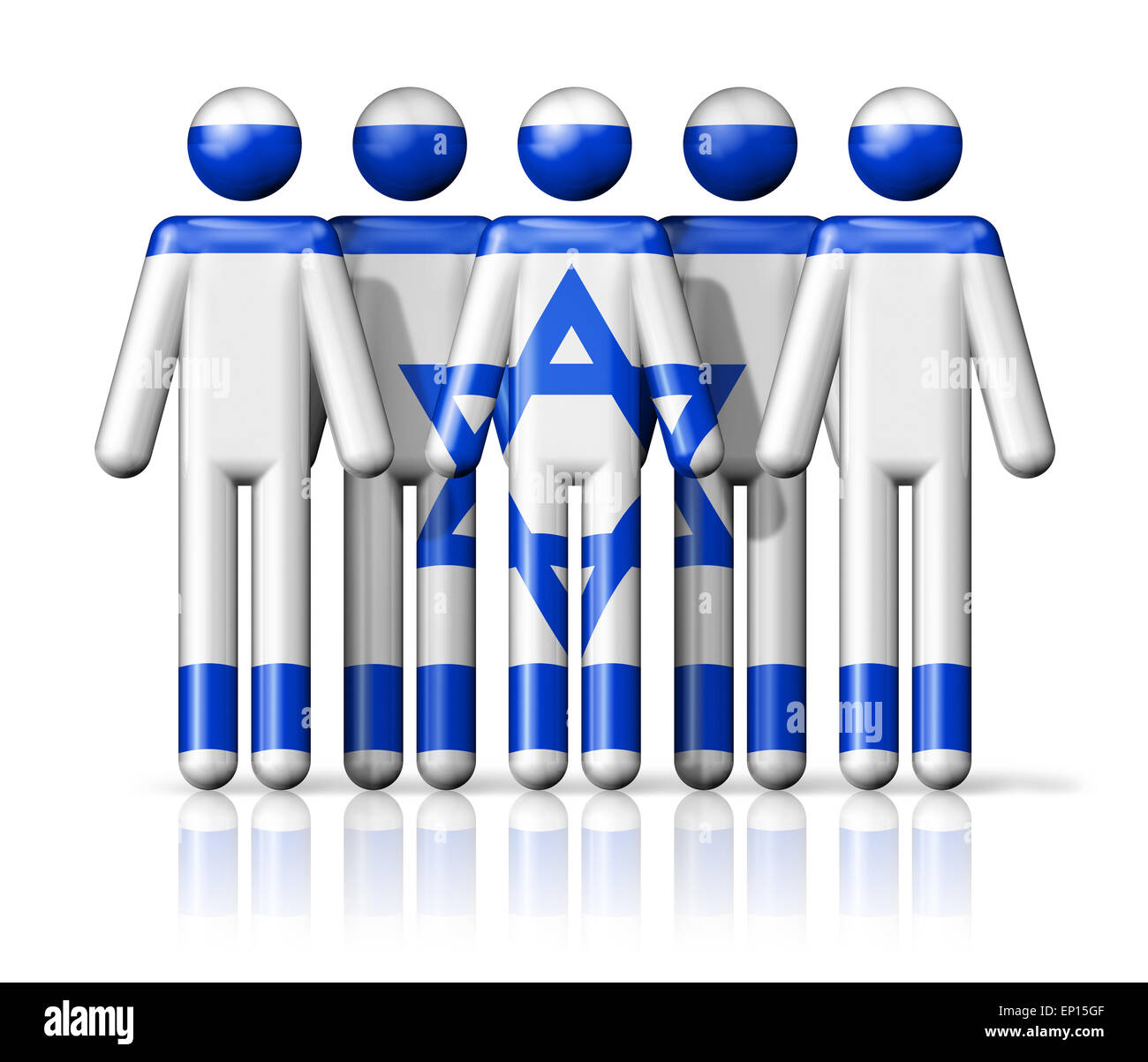 Flag of Israel on stick figure - national and social community symbol 3D icon Stock Photo