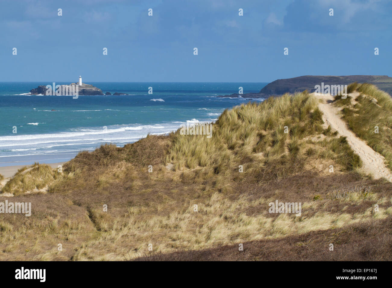 View to Godrevy Island and Godrevy Point from Upton Towans NNR sand dunes, St. Ives Bay, Cornwall, England. March. - Stock Image