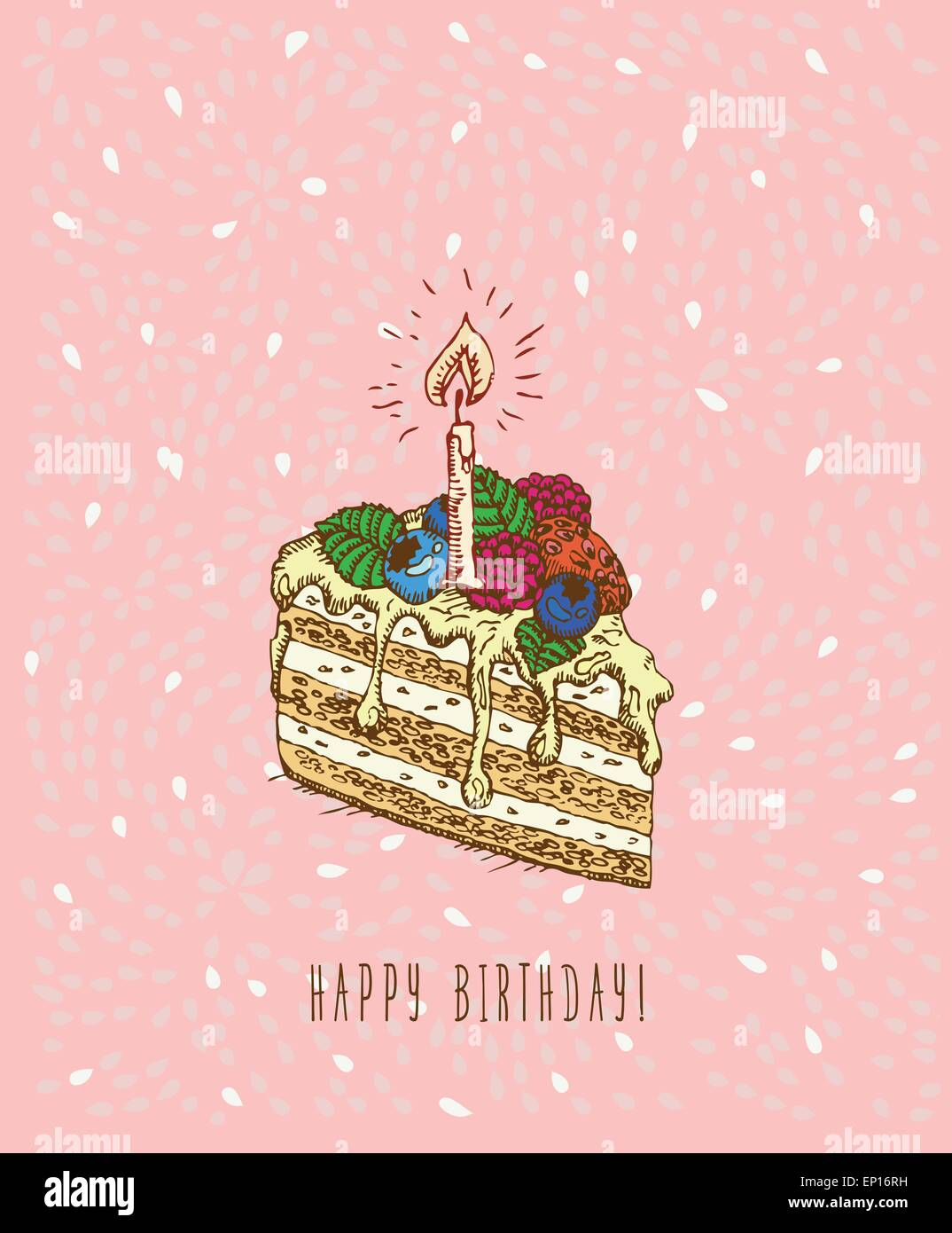 Birthday Greeting Card With Cake In Doodle Design Hand Drawn Vector