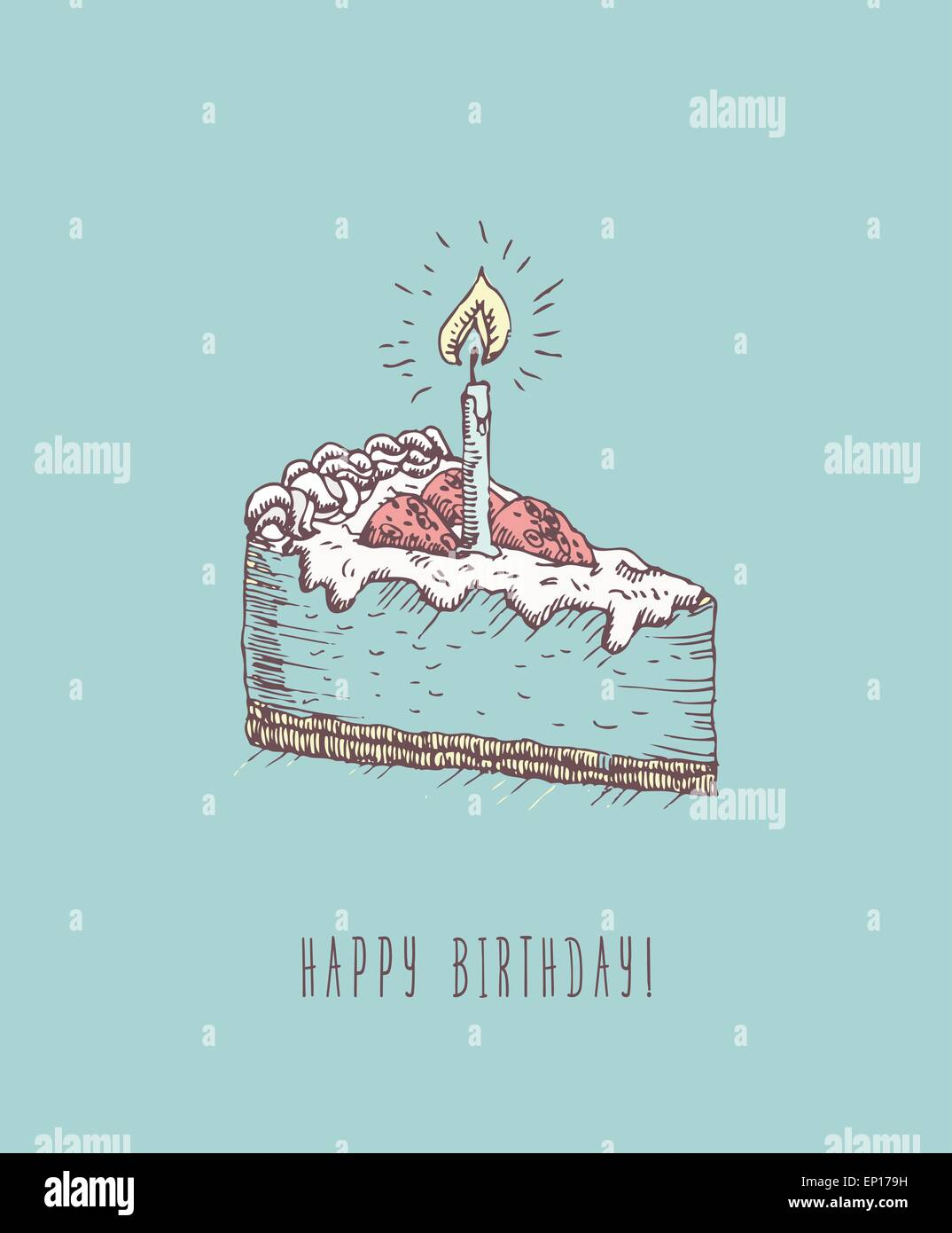 Birthday Greeting Card With Cake In Doodle Design Hand Drawn Vector Illustration Gift