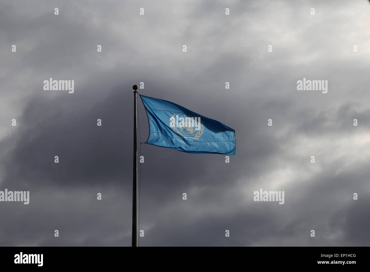 The flag flying at Headquarters of the United Nations. New York City. USA. - Stock Image
