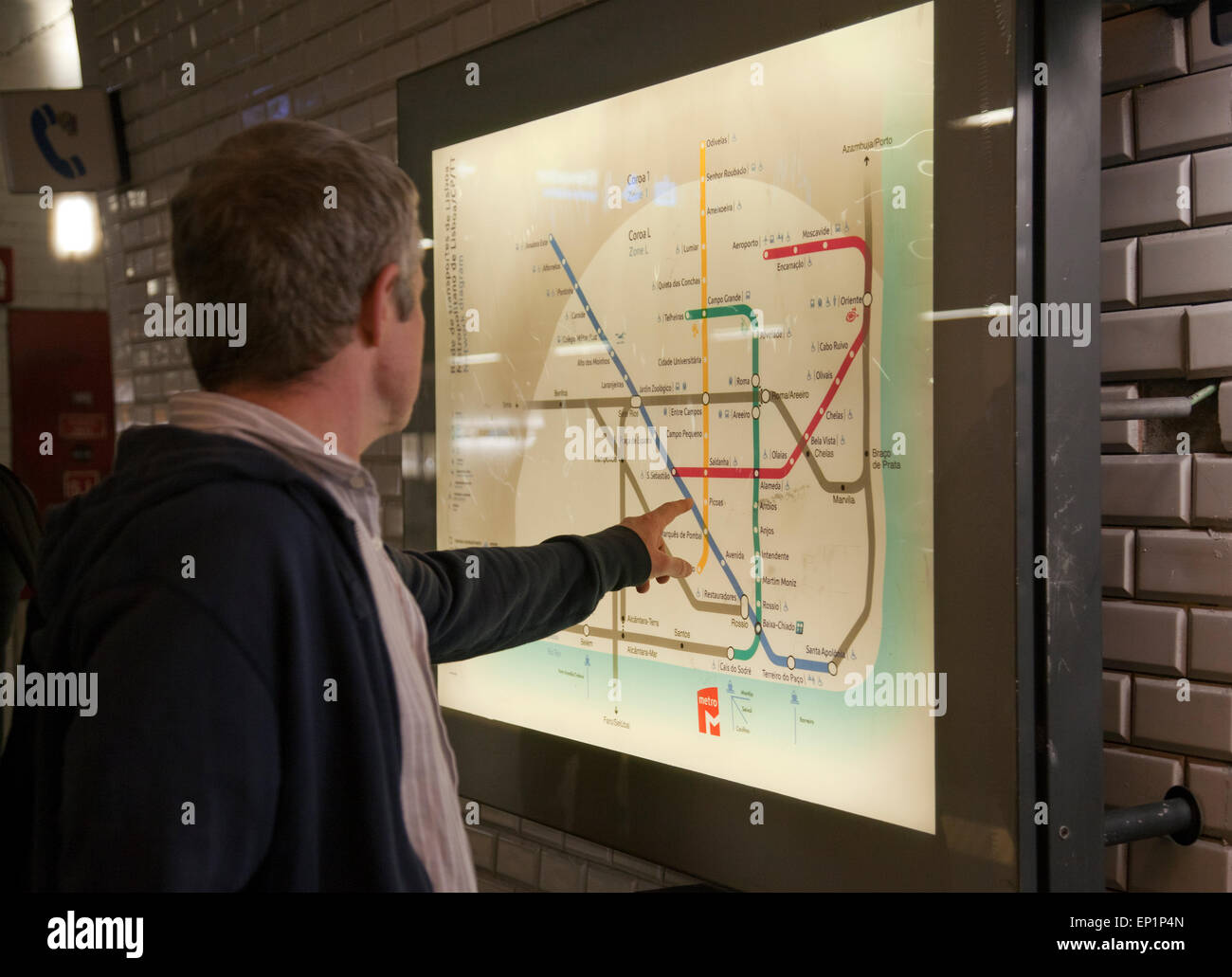 Metro Map Lisbon Portugal.Man Looking At Lisbon Metro Map On Platform In Lisbon Portugal