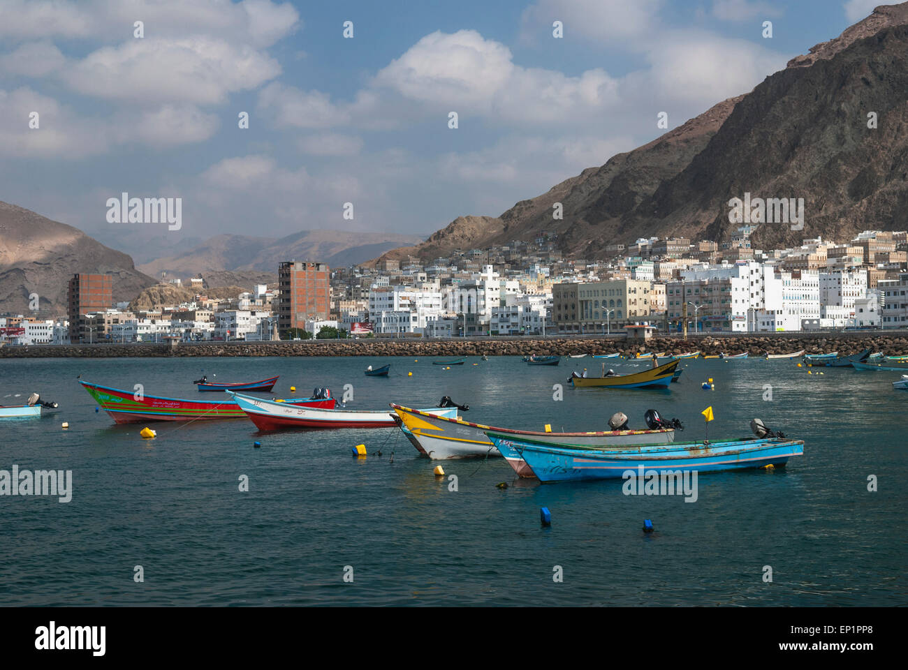 The fishing port of Al Mukalla in Yemen - Stock Image