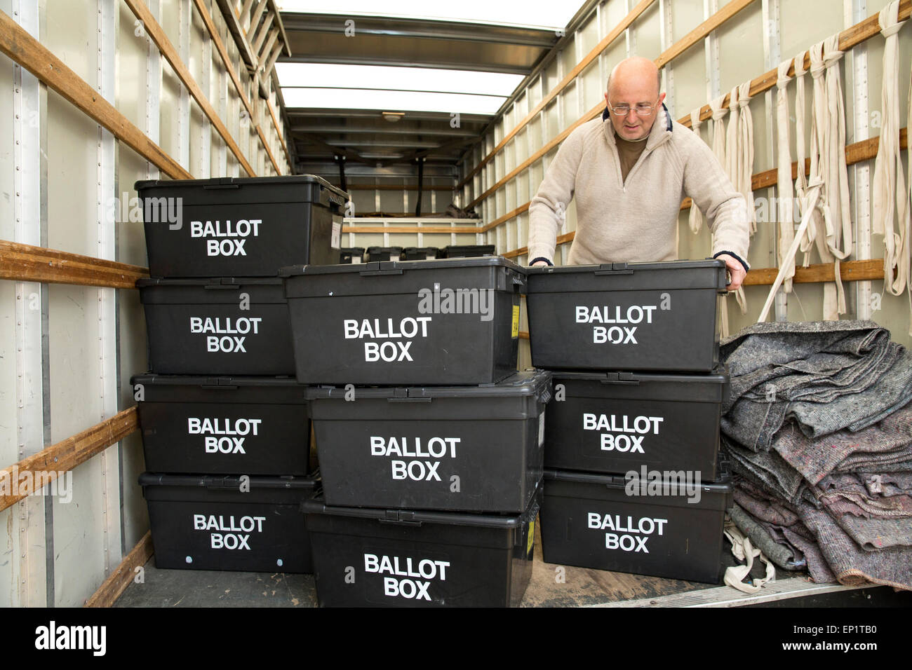 Ballot boxes being delivered to Sheldon Heath community centre ready for voting in the General Election - Stock Image