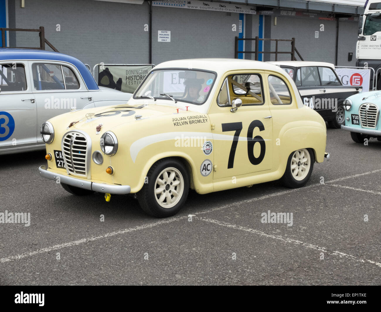 Julian Grindall and Kelvin Bromley taking part in the HRDC pre 1960 Touring Greats Races in their A35 at Donnington - Stock Image