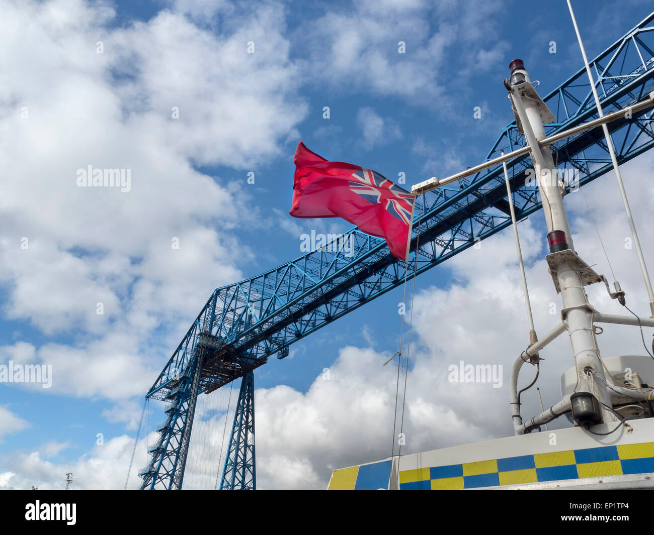 Middlesbrough Transporter Bridge and Red Ensign - Stock Image