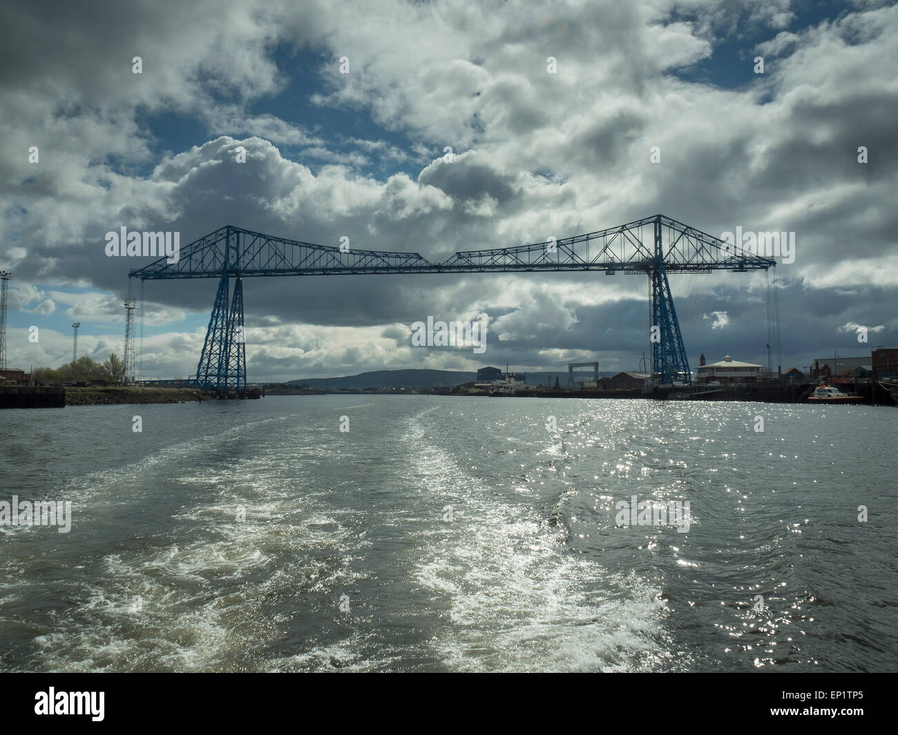 Middlesbrough Transporter Bridge from the River Tees - Stock Image