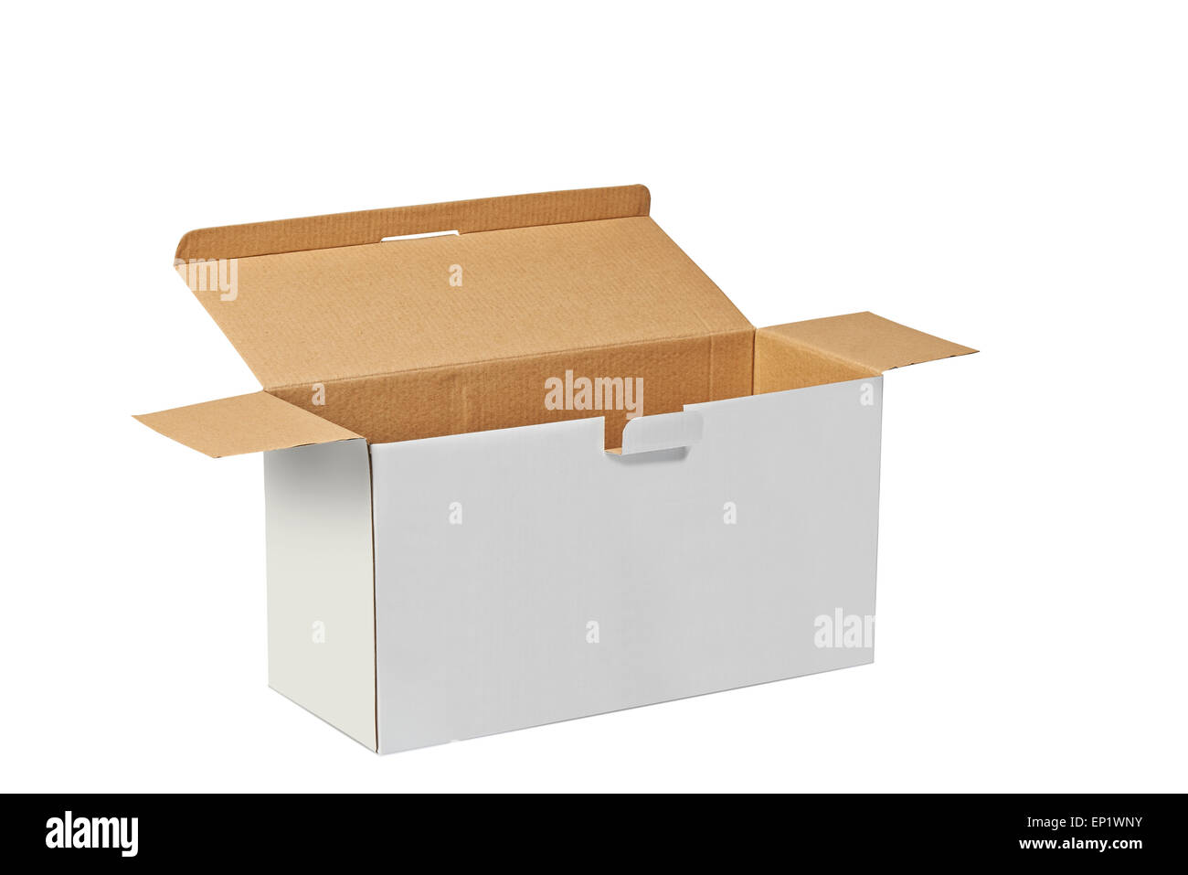 Real Cardboard box opened ready for packaging and delivering isolated on white with clipping path - Stock Image