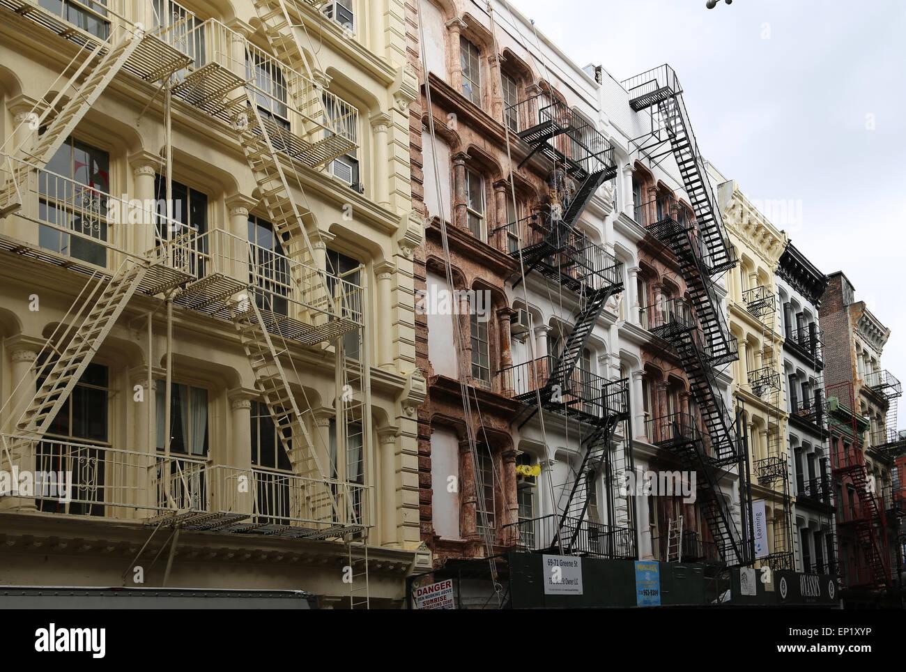 United States. New York City. Lower Manhattan. Soho. Fire escape. - Stock Image