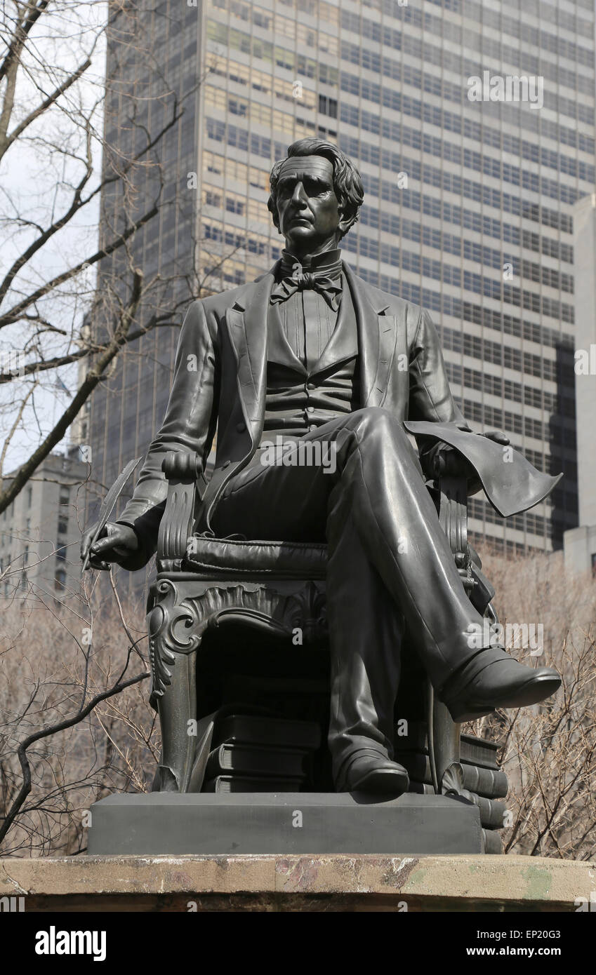 William H. Seward (1801-1872). 24th United States Secretary of State. Statue. New York city. USA. - Stock Image