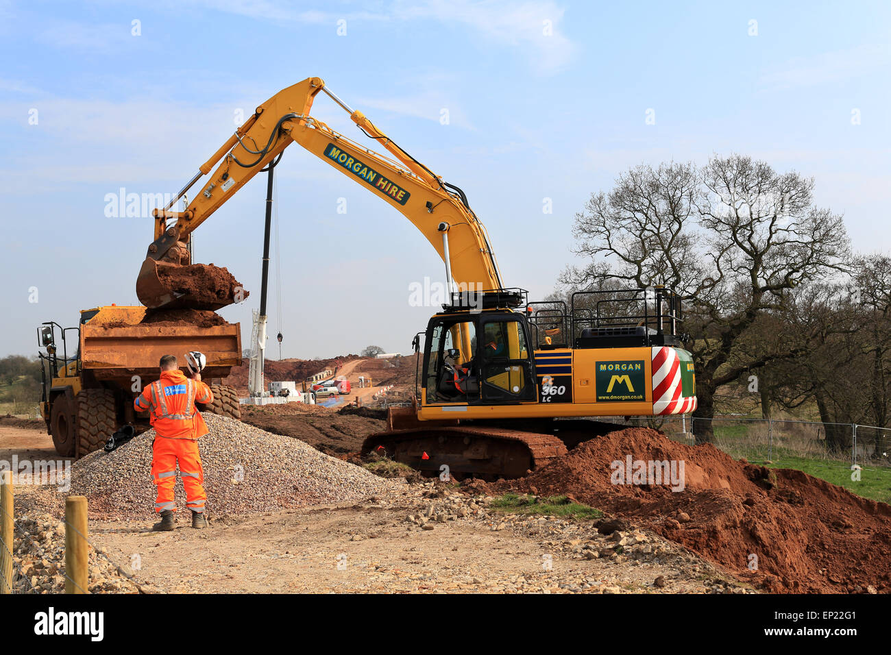 Railway construction workers Uk - Stock Image