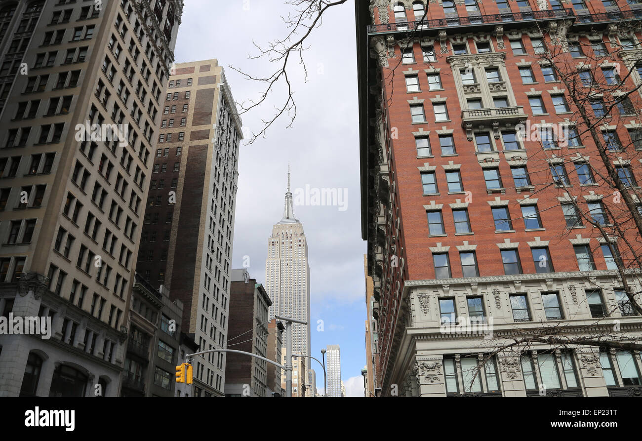United States. New York City. Lower Manhattan. 5th Avenue. Empire State Building. - Stock Image