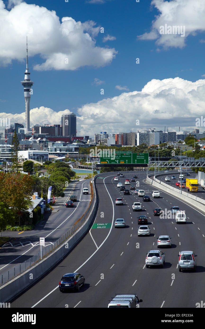 Northern Motorway and Skytower, Auckland, North Island, New Zealand Stock Photo