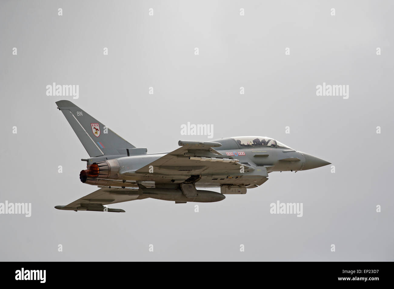Eurofighter Typhoon Jet Fighter at the RAF Lossiemouth Air Base, Morayshire. Scotland.SCO 9784 - Stock Image