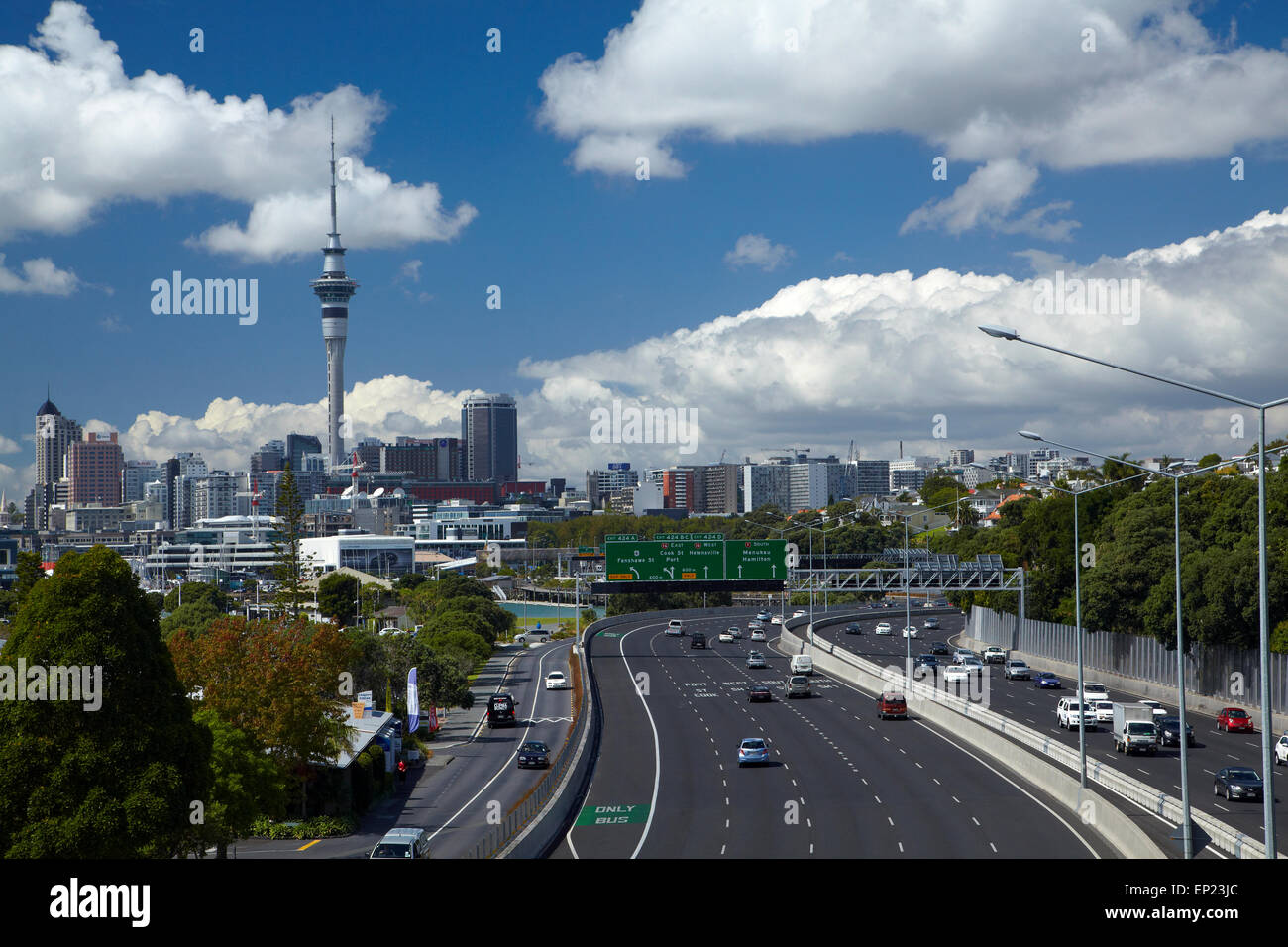 Northern Motorway and Skytower, Auckland, North Island, New Zealand - Stock Image