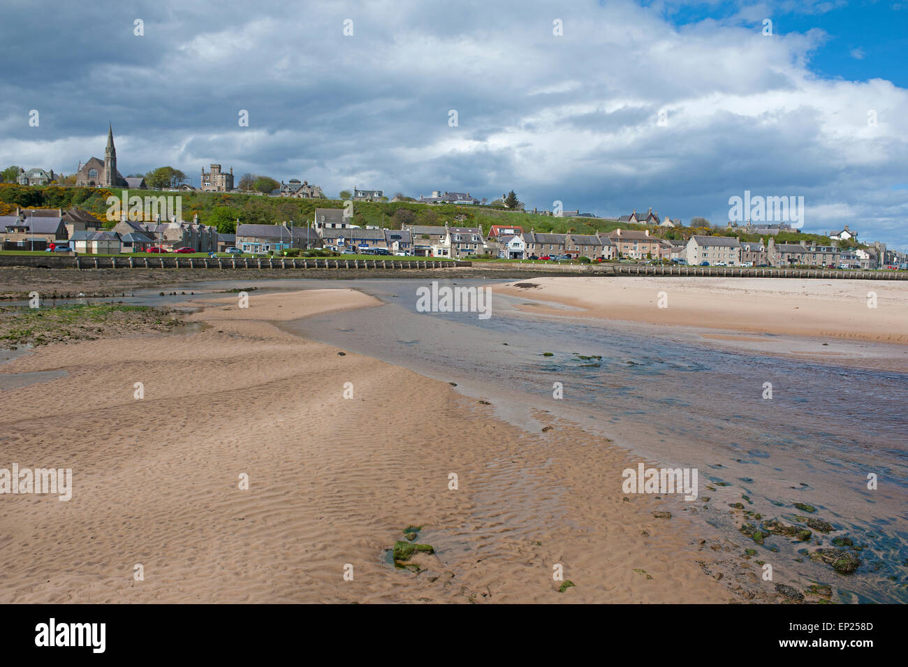 The River Lossie estuary and the town of Lossiemouth on the Moray Firth.  SCO 9790. - Stock Image