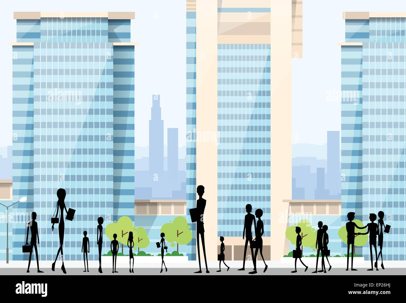 People Silhouettes Crowd on City Street Modern Office Buildings - Stock Vector
