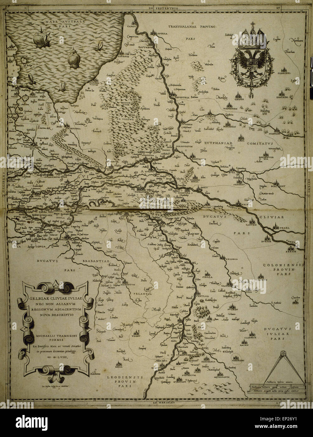 holland belgium and part of germany map made by michaelis tramezini 1558