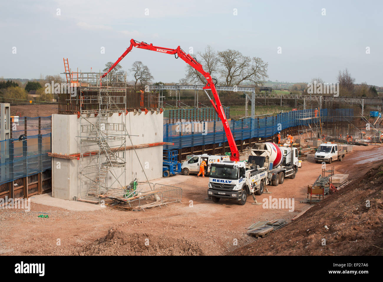 Norton Bridge Junction railway construction work - Stock Image
