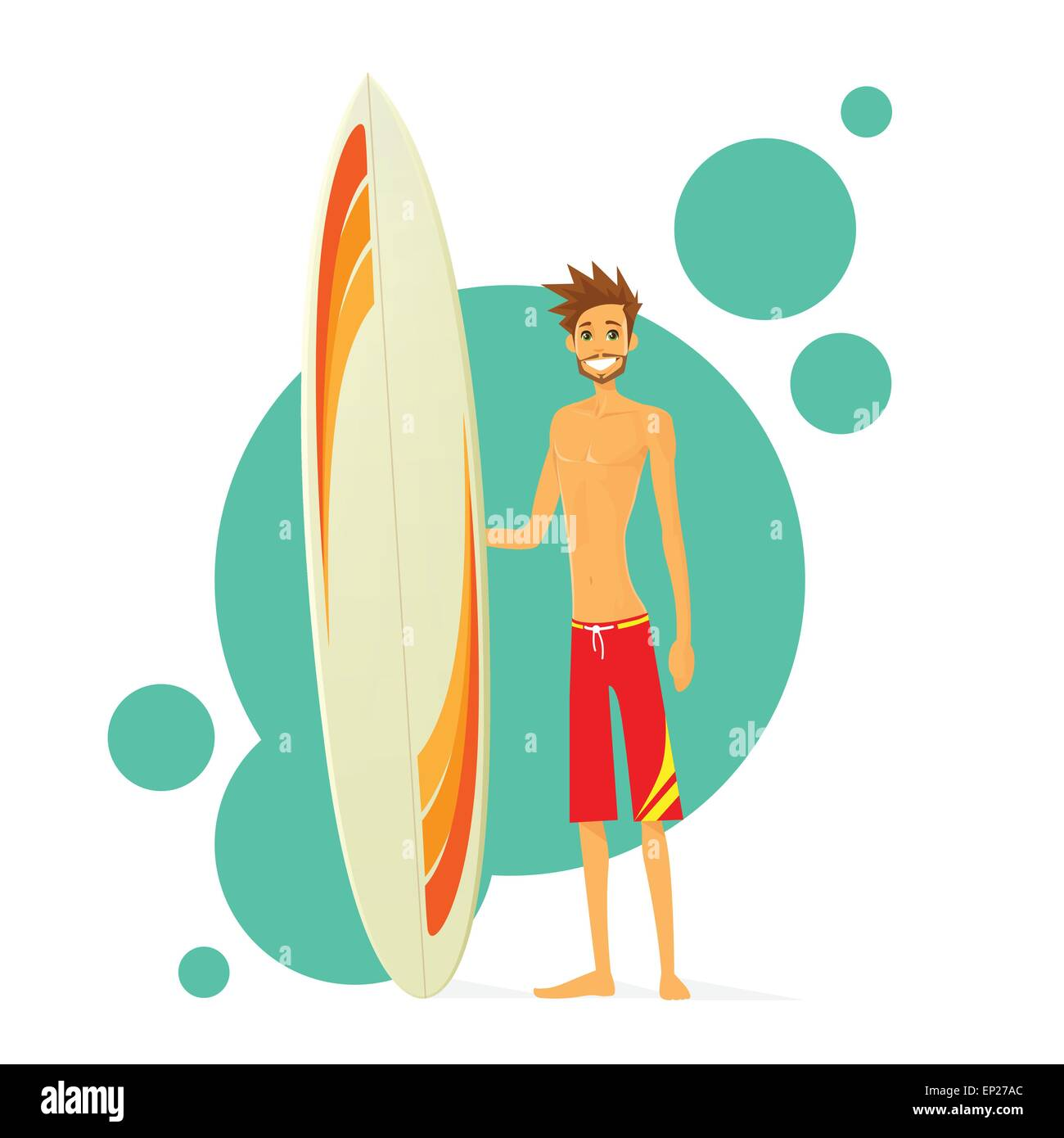 Surfer Man With Surfing Board Flat Icon - Stock Vector
